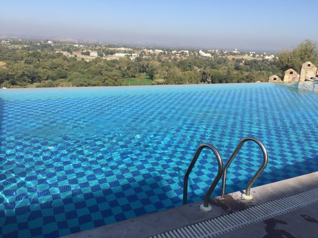 Infinity Swimming Pool at Just Brij Bhoomi Resort