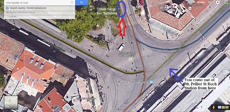 There are four tram stops and this screenshot will help in finding tram stop for sabines ifor people travelling from Paris to barcelona