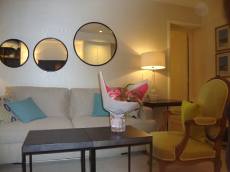 Sofa in Suite Room at Hotel Balmoral Paris