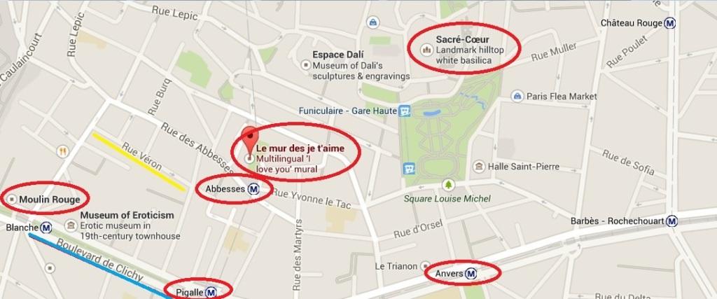 Guide Map to Montmartre Paris