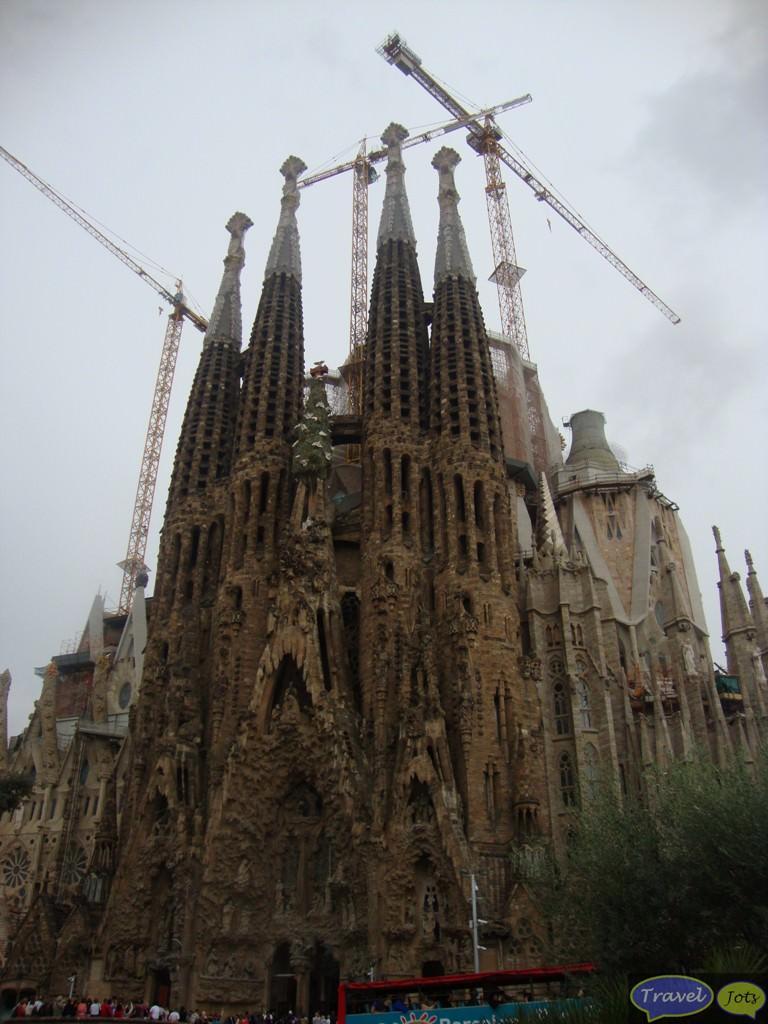 Sagrada Familia at Barcelona, Spain.. Catholic church designed by Antoni Gaudi
