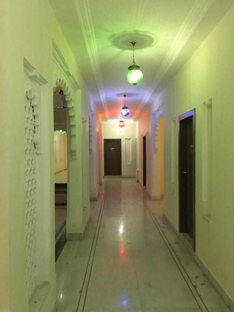 The corridors and the architecture of Justa Brij Bhoomi Resorts, Nathdwara