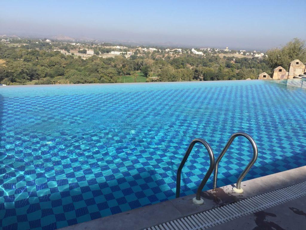 Infinity Swimming Pool at Just Brij Bhoomi Resort